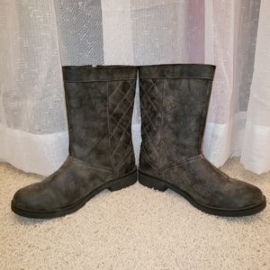 Rocket Dog Quilted Grey Moto Boots Women's 8.5